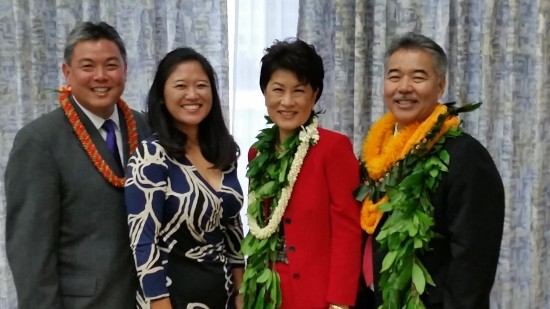 Hawaii Gov. David Ige (right) and his wife Dawn with Congressman-elect Mark Takai and his wife Sami. Takai will be sworn in on Jan. 3.