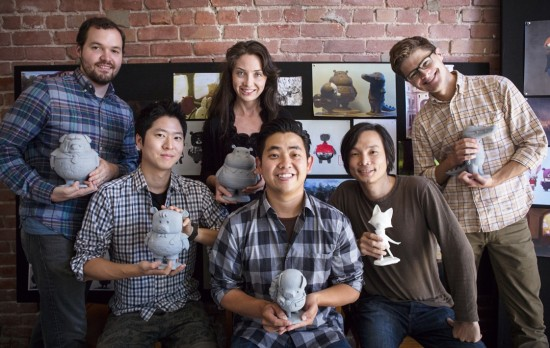 "Pictured with models of characters from ""The Dam Keeper"" are (from left) editor Bradley Furnish, supervising animator Erick Oh, producer Megan Bartel, director Robert Kondo, director Dice Tsutsumi, and producer Duncan Ramsay."