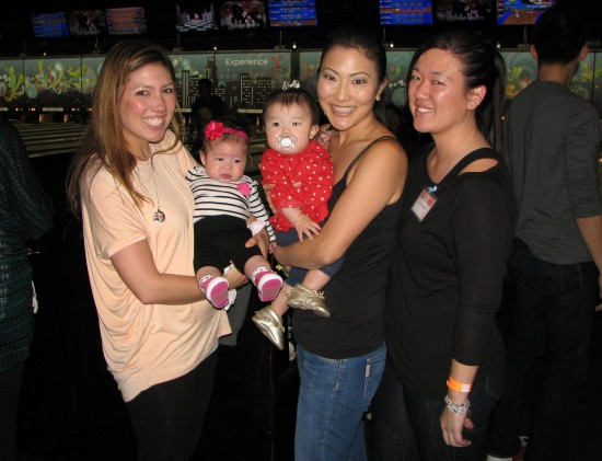 Members of the 2005 Nisei Week Court (team name: Old 5). From left: Michelle Ito Hatsushi (and daughter Kaila), Steffanie Tamehiro-Takahashi (and daughter Isla), Kristyn Hayashi.