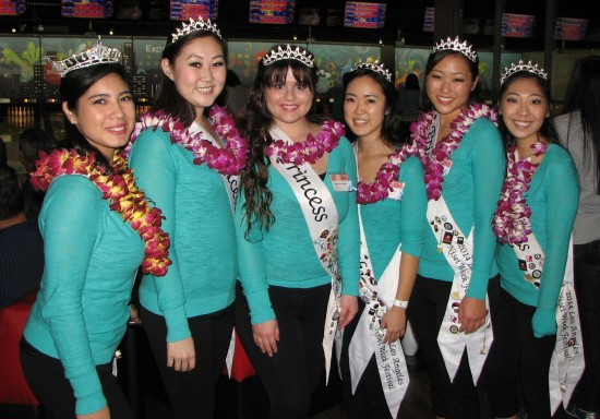 The 2014 Nisei Week Court (form left): Queen Tori Nishinaka-Leon, Princess Melissa Kozono, Princess Dominique Mashburn, Princess Tiffany Hashimoto, Miss Tomodachi Ashley Arikawa, First Princess Lindsey Sugimoto.