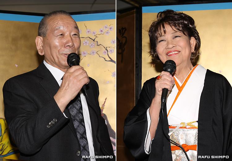 青森市観光大使に任命される豊島年昭顧問(写真左)と奈良佳緒里会長(同右)