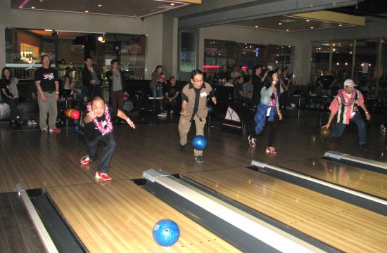 "From left: Aaron Takahashi, Rodney Kageyama, Seena Akita and Chris Tashima participate in the ""First Bowl."""
