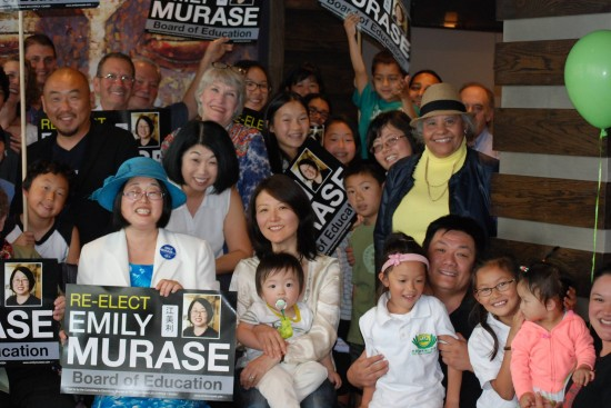 Emily Murase with family and friends during her re-election campaign.