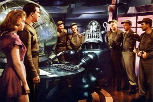 "Robby the Robot in a scene from the science fiction classic ""Forbidden Planet."""