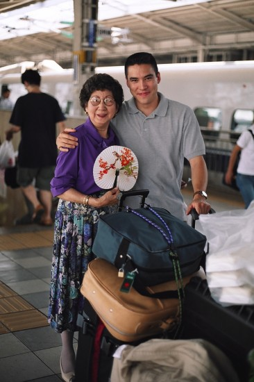 Filmmaker Chris Hope and his grandmother Nancy Hatsumi Okura at a train station in Japan.