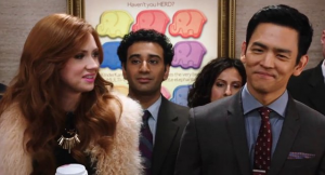 "Karen Gillan and John Cho in ""Selfie."""