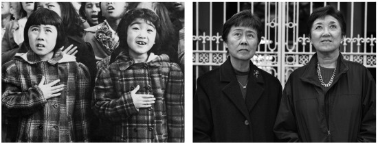 Left: Helene Nakamoto and Mary Ann Yahiro by Dorothea Lange, 1942, National Archives and Records Administration. Right: Helen Nakamoto and Mary Ann Yahiro by Paul Kitagaki Jr., 2007. (Images courtesy of Paul Kitagaki Jr.)
