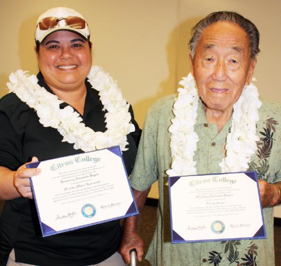 Kayle Matsushima, representing Masako Mukai Kusumoto, and Toshio Asano received honorary degrees from Citrus College.