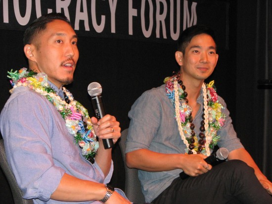 Director Tad Nakamura (left) and ukulele player Jake Shimabukuro during a post-screening Q&A. (J.K. YAMAMOTO/Rafu Shimpo)