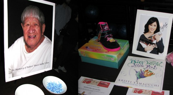 """Left: The tournament was dedicated to the late """"Uncle Bobby"""" Chun. Right: Kristi Yamaguchi donated items for the silent auction."""