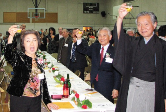 Participants drank a non-alcoholic toast to the new year.
