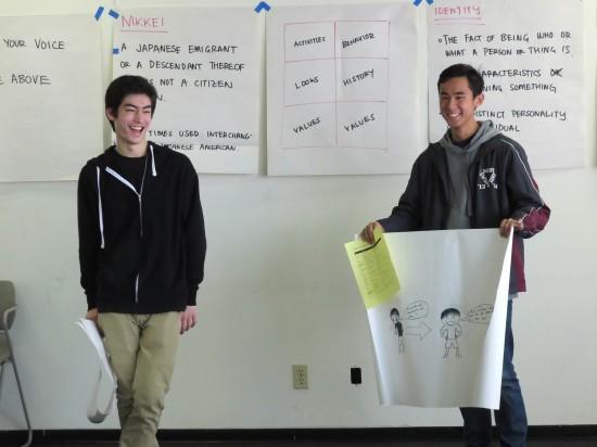 Matthew Adams and Brandon Chung at a cultural values workshop.
