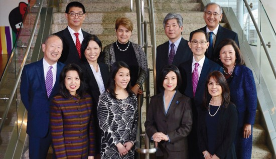Japanese American Leadership Delegation: (front row, from left) Sach Takayashi, Lynn Hashimoto, Yoshie Ito, Linda Taira; (second row, from left) Kaz Maniwa, U.S.-Japan Council senior vice president, Priscilla Ouchida, Tracy Tsuetaki, Irene Hirano Inouye, U.S.-Japan Council president; (third row, from left) Toshiki Masaki, Robin Yasui, Richard Morimoto, Tyler Tokioka
