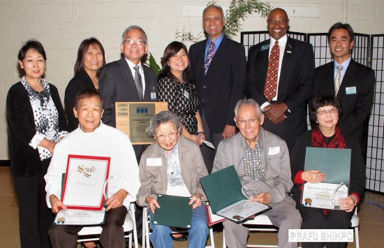 East San Gabriel Valley Japanese Community Center Distinguished Members (seated, from left) Chef Ryo Sato, Ruri Sugimoto, George Sugimoto, Barbara Shirota; (back row, from left) Yoshie Sato, Aya Kamimura, 2015 vice president; Phillip Komai, 2015 president; Pearl Omiya, ESGVJCC executive director; State Sen. Dr. Ed Hernandez; West Covina Mayor Fredrick Sykes; West Covina Mayor Pro Tem James Toma.
