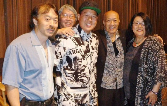 """At the ABC pre-screening of the """"Fresh Off the Boat"""" pilot: Guy Aoki with Eddie Huang, Dr. Raymond Quan, MANAA President Aki Aleong, and MANAA Vice President Miriam Nakamura-Quan."""