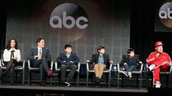 "Eddie Huang and the cast of ""Fresh Off the Boat"" at the Television Critics Association event."