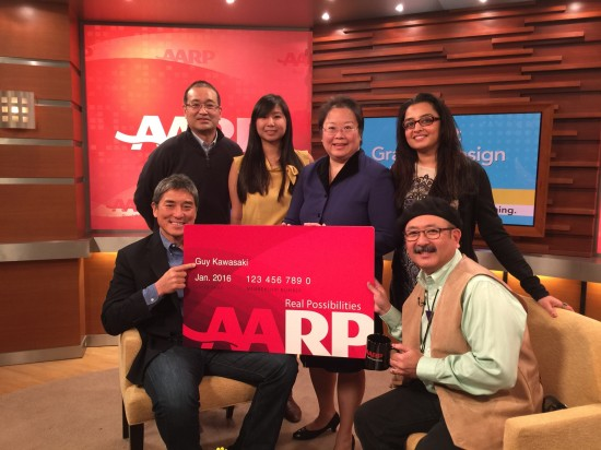 Seated: Guy Kawasaki (left) and Gil Asakawa. Standing (from left): AARP staff members Ron Mori, June Kao, Daphne Kwok (vice president of multicultural markets and engagement, Asian American and Pacific Islander audience) and Ruma Samdani.