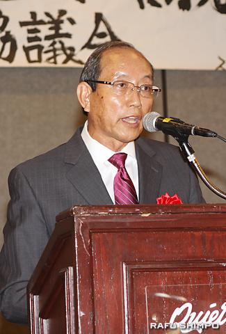 就任演説を行う小林新会長