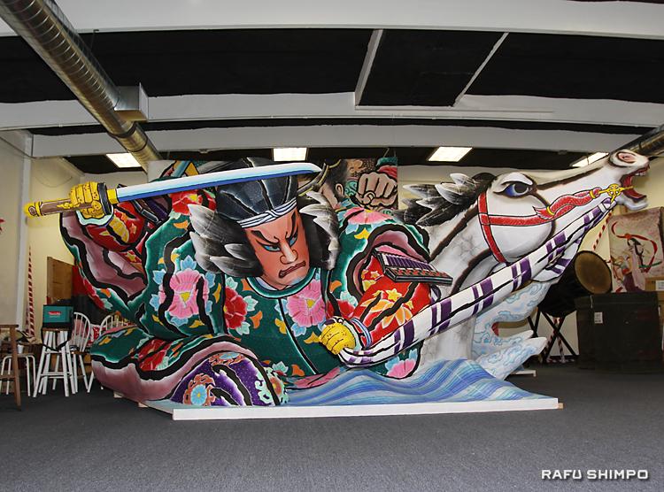 青森県人会館に納められた「津軽海峡 義経渡海」