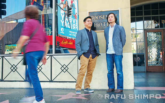 Robert Kondo and Dice Tsutsumi pause for a photo in Hollywood, ahead of Sunday's Oscars, where they are nominated for their animated short. (MIKEY HIRANO CULROSS/Rafu Shimpo)