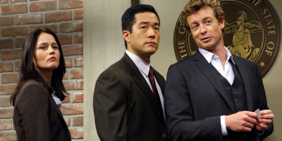 "Robin Tunney, Tim Kang, Simon Baker in ""The Mentalist."""