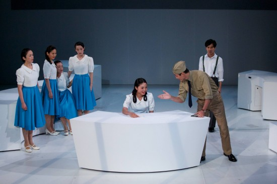 "Above and  below: Miwa Yanagi's ""Zero Hour"" follows a group of women coerced into participating in an anti-American propaganda broadcast, through which they became known collectively as ""Tokyo Rose."" The play is inspired by true events during World War II. (Photos by Naoshi Hatori)"