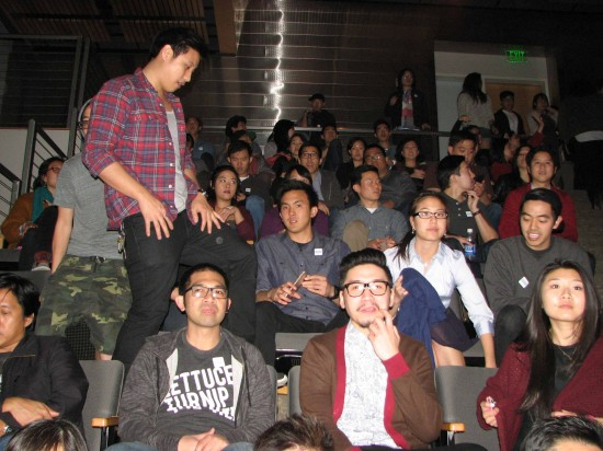 "Right and below: There was a full house at JANM's Tateuchi Democracy Forum for the ""Fresh Off the Boat"" viewing party."