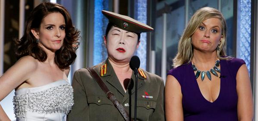 Margaret Cho at the Golden Globes ceremony with Tina Fey and Amy Poehler.