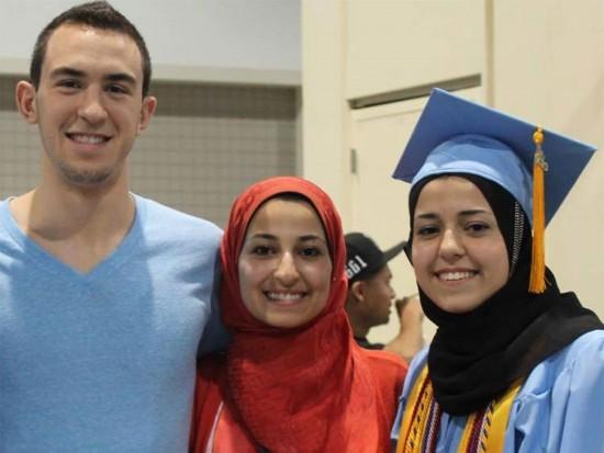 Deah Shaddy Barakat, his wife Yusor Mohammad Abu-Salha, and her sister Razan Mohammad Abu-Salha.