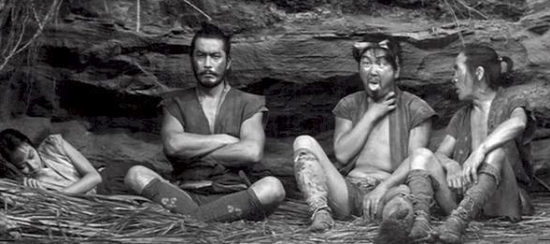 "Toshiro Mifune (second from left) in a scene from ""The Hidden Fortress."""
