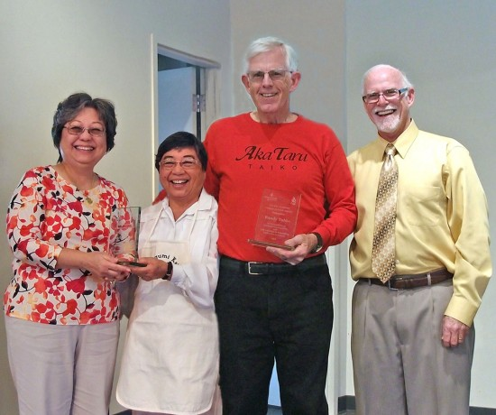 From left: Award recipient Barbara Lai; Amy Tsubokawa, president of the Long Beach Japanese Cultural Center; award recipient Randy Tubbs; and Pastor Pat Thompson of Grace First Presbyterian Church.
