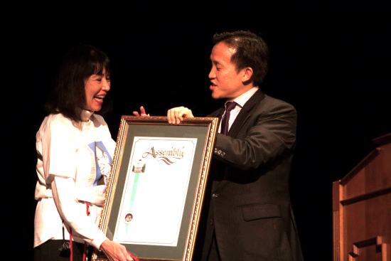 Karen Korematsu receives a proclamation from Assemblymember David Chiu of San Francisco.