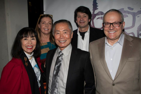 Front row: Karen Korematsu, George Takei, Brad Takei. Second row: Cecy Jones-Korematsu, Ken Korematsu.