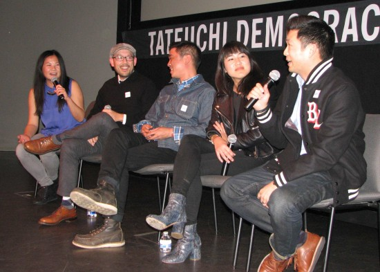 "From left: Jenny Yang, Oliver Wang, Milton Liu, Jen Wang and Phil Yu share their reactions to the first episode of ""Fresh Off the Boat."""