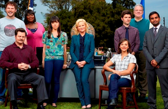 "Cast of ""Parks and Recreation"" (Aziz Ansari is on the right)."