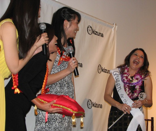 "Denise Iketani and Nikki Kodama crown Helen Ota ""Queen for the Day."""