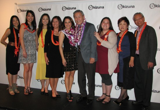 From left: Emcee Traci Kato-Kiriyama, roasters Nikki Kodama, Jully Lee and Denise Iketani, roastees Helen Ota and Alan Nishio, roasters Kristin Fukushima, Chris Aihara and Bill Watanabe.