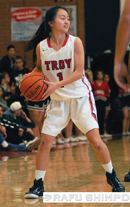 Cori Okada led Troy with eight points in the win.