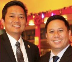 Cerritos City Council candidate Frank Aurelio Yokoyama and Mayor Mark Pulido.