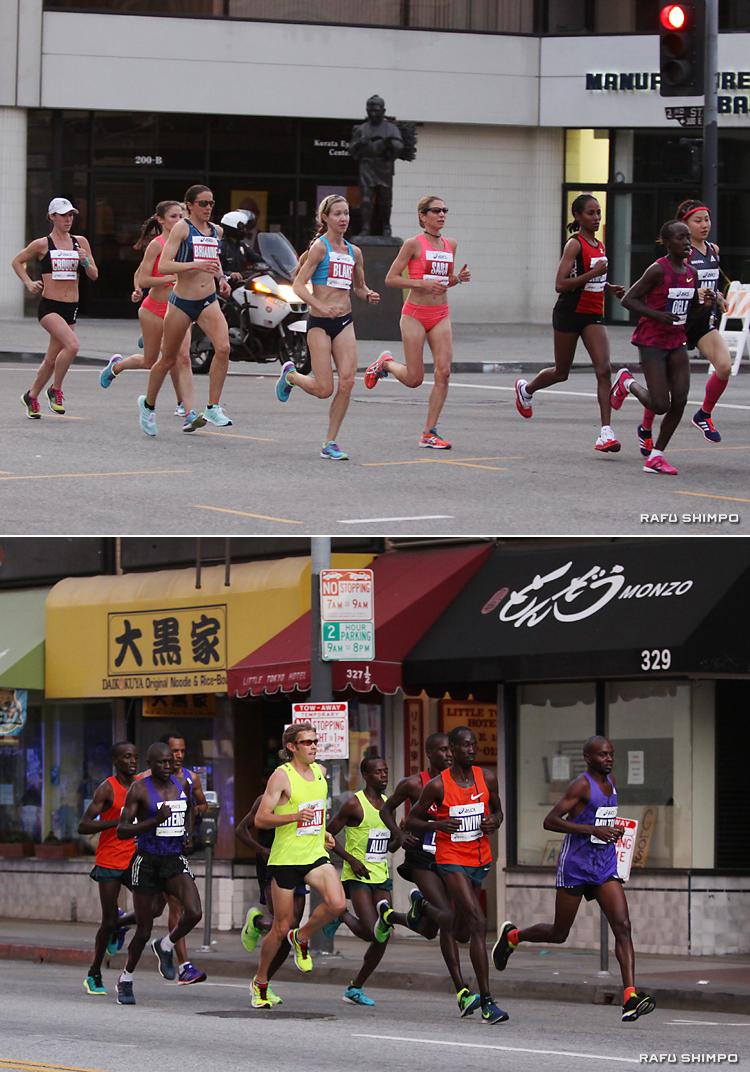 小東京を快走する女子(写真上)と男子(同下)のエリートランナー