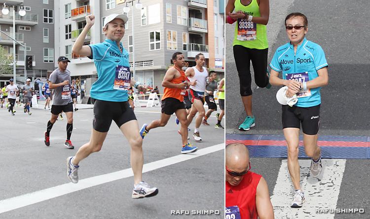 JBA(南カリフォルニア日系企業協会)会長の三宅英夫さんは小東京を快走し(写真左)、4時間17秒の好タイムでゴール(同左)。JBAは、今年もメンバーがボランティアで給水スタッフとしてランナーを支えた