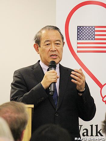 米国からの支援に感謝の言葉を述べる藤崎前駐米大使