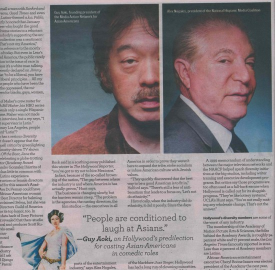 Aoki in the LA Weekly cover story on the lack of diversity in the television and movie industries.