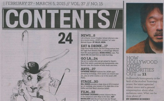 Aoki on the Table of Contents page of the LA Weekly.