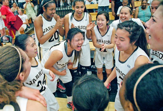 Kayla Sato (center) led the post-game cheering after her West Warriors knocked off Troy and won their second straight CIF title.