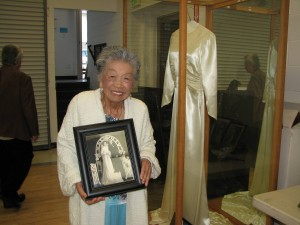 Among the artifacts on display was the wedding dress that Chiyomi Ogawa wore when she got married at Manzanar. After the war, give other Japanese American women wore the dress for their weddings.