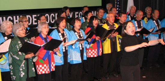 "The Nikkei Choral Federation of Southern California sang ""Hana wa Saku"" and ""Soran Bushi."""