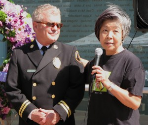 Battalion Chief Larry Collins and Love to Nippon founder Masako Unoura-Tanaka.