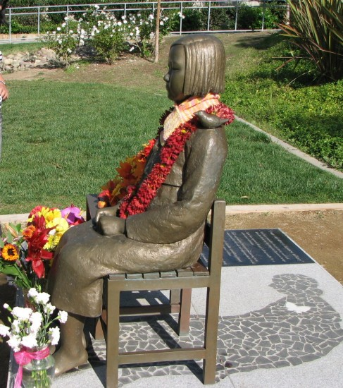 The monument to comfort women is in Glendale's Central Park. (Rafu Shimpo photo)