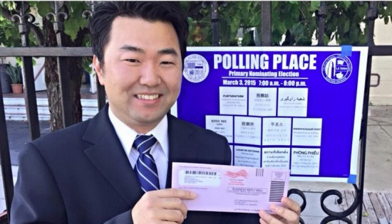 David Ryu at his polling place on Election Day.